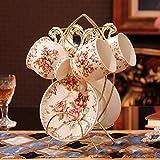 Kitchen Tea Set Porcelain Drinkware Set Saucers Ceramic Coffee Cup European High-Grade Ceramic Tea Tea with Creative Iron