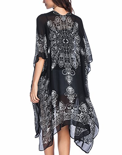 - Moss Rose Women's Beach Cover up Swimsuit Kimono Cardigan with Bohemian Floral Print
