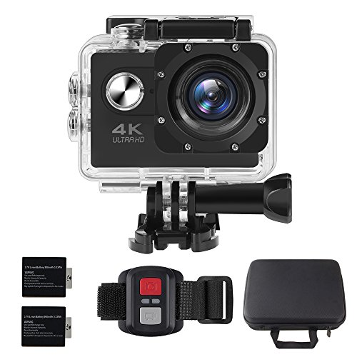ALOFOX 4K Action Camera 16MP WiFi Waterproof Sports Camera 170 Degree Ultra Wide-Angle Len with SONY Sensor, 2.4G Remote, 30M Waterproof Case, 2 Pcs Rechargeable Batteries and Portable Package