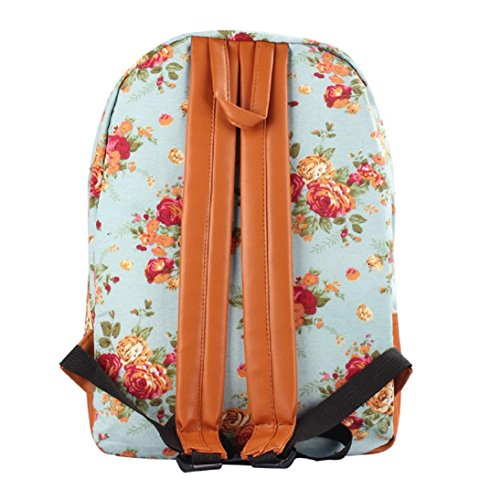 Girl Shoulder Canvas New Flower Bag Book School Blue HP95 Women Backpack Rucksack TM BxqwxztUE