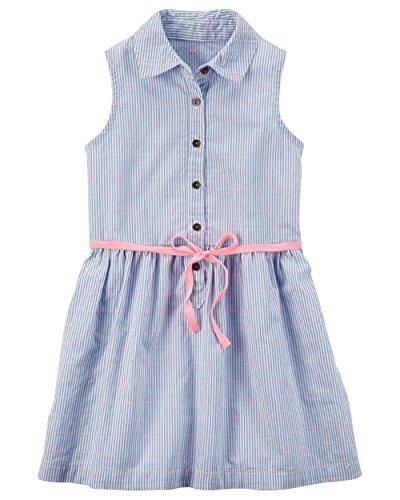 Carters Girls Woven Summer Dresses (Blue Stripe/Pink Dot, 6/6x)