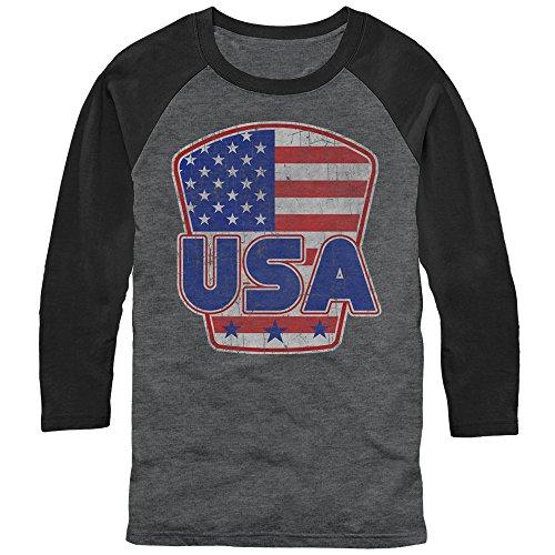 Lost Gods Men's USA Shield Arctic Gray/Black Baseball (Arctic Shield Clothing)