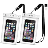 OCASE Waterproof Phone Case, Universal Waterproof Bag Dry Bag With Neck Strap for Apple iPhone 7, 7 Plus, 6 6S, 6S Plus, SE 5S, Samsung S7 Edge, S6, Note 5, HTC LG Sony Motorola - White -2 Packs