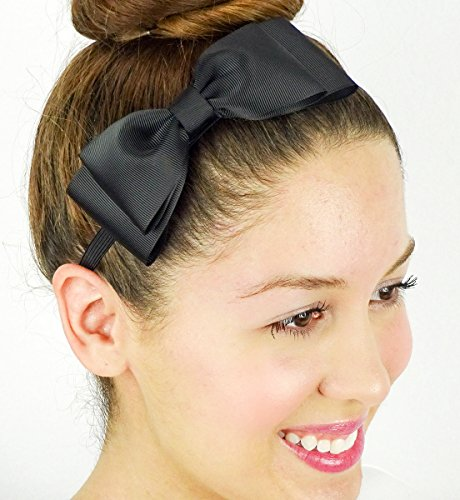 Alice in Wonderland Inspired Bow Black Grosgrain Ribbon Elastic Stretchy Headband Hair Accessory Handmade by Sweet In The City (Alice Teen Costume)