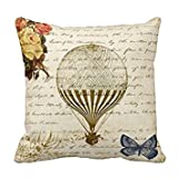 Vintage Beige Hot Air Balloon Print Custom Zippered Pillow Cushion...