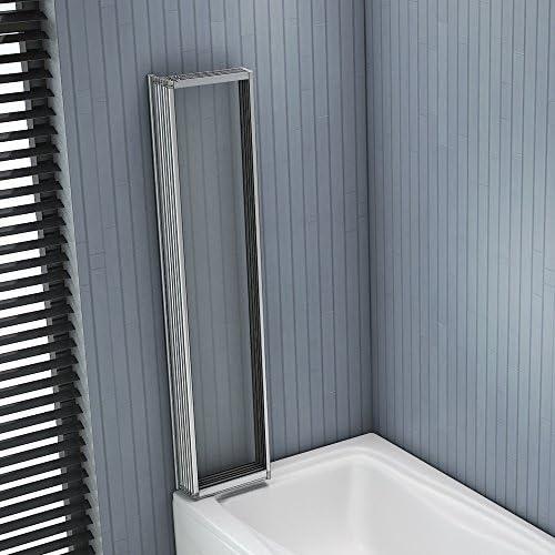 Mampara para bañera o ducha, plegable y giratoria con cristal ...