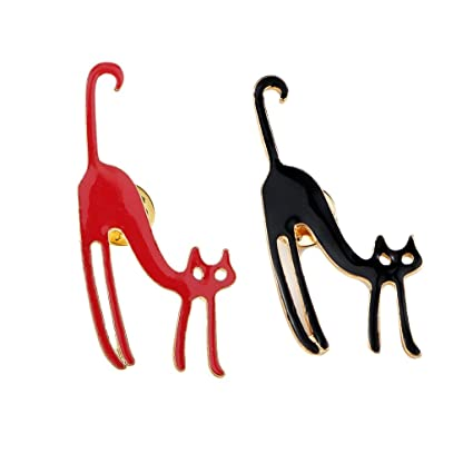 Sharplace Broche Pin Patrón Gato, Color Negro y Rojo ...