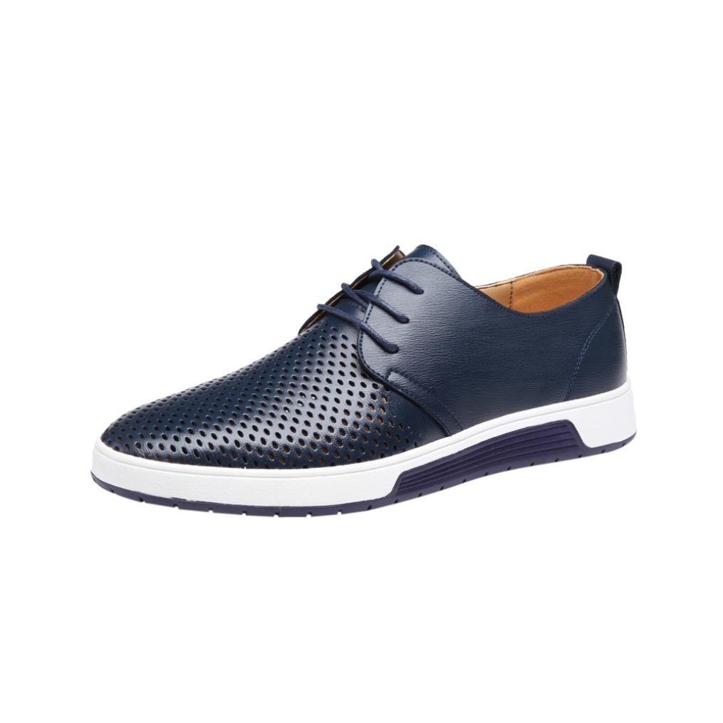 Mens Hollow Solid Leather Shoes Men's Summer Breathable Business Leisure Slip-On Driving Office Shoes (navy, 47(US:10.5))