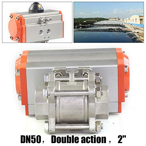 2 ihch Three-Piece Pneumatic Actuated Ball Valve Double Acting Action Air Return - Actuated Piece 3 Air