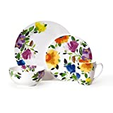 Dinnerware Set White Porcelain with Bright Floral French Garden 4 pc place setting Dinner Dish, Salad Plate, Bowl, Mug (48 Piece Serves 12)
