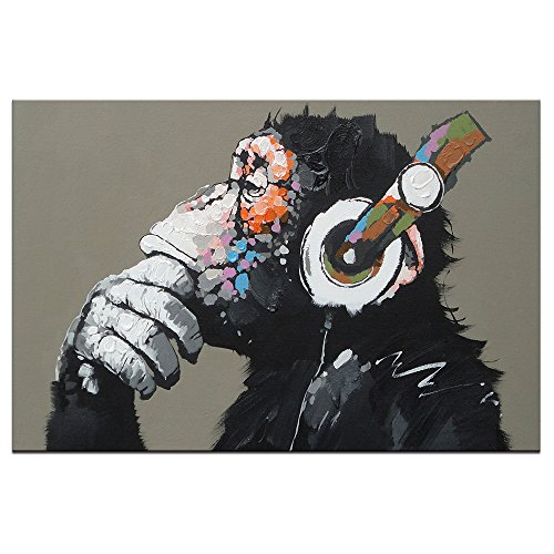 DVQ ART-Framed Animal Music Gorilla Canvas Printed Painting Modern Funny Thinking Monkey with Headphone Wall Art for Living Room Decor Ready to Hang 1 PCS (24x36inch(60x90cm))