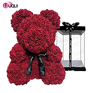 U UQUI Rose Flower Bear – 16 Inches Tall – Over 500+ Flowers on Every Rose Bear – Perfect for Anniversary's, Birthdays, Bridal Showers, Mothers, Etc. – Clear Gift Box Included!