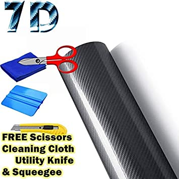 "7D 5ft x 5ft Super Gloss Blue Carbon Fiber Vinyl Air Bubble Free 60/"" x 60/"" 6D"
