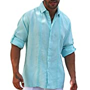 Guayamisa pin tuck aqua long sleeve linen shirt.