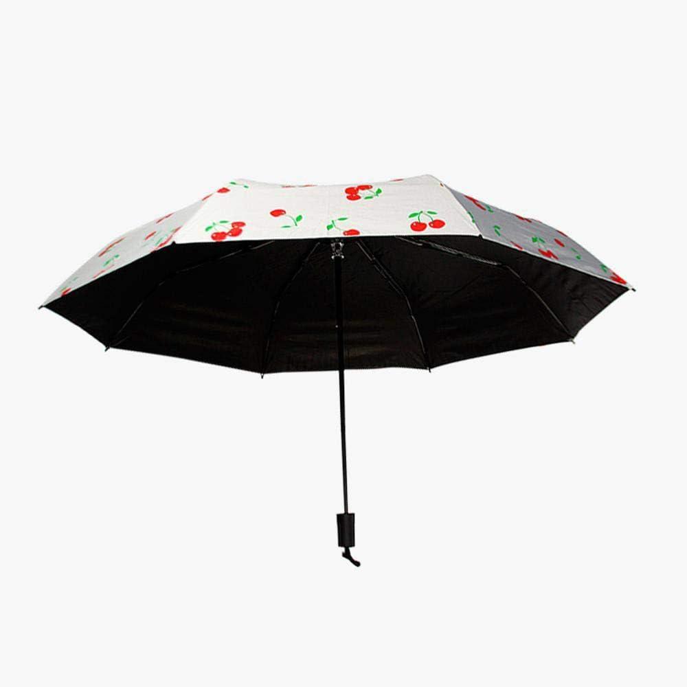 TtKj Folding Umbrella Creative Automatic Three Folding Small Fresh rain Dual-Purpose Childrens Black Plastic parasol5796cm