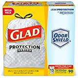 Glad Tall Kitchen Protection Series Drawstring Trash Bags -13 Gallon White Trash Bag - 90 Count (Packaging May Vary)