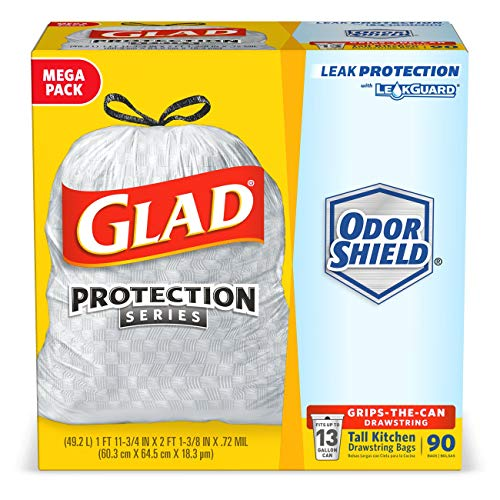Glad Tall Kitchen Protection Series Drawstring Trash Bags – 13 Gallon White Trash Bag – 90 Count