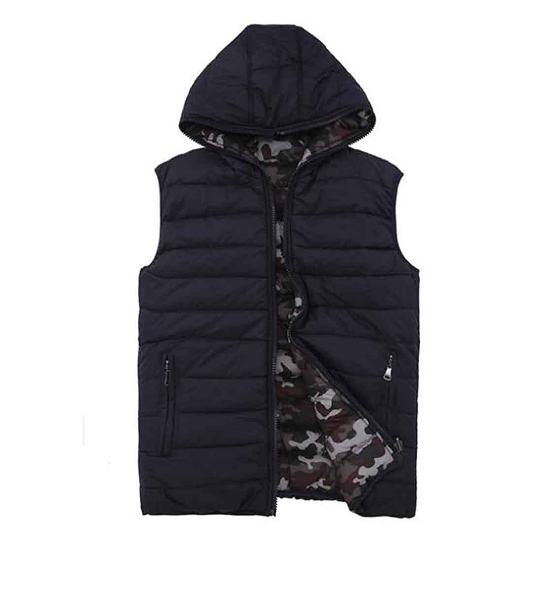 932c7d23db5add Men s Gilet Bodywarmer Down Cotton Vest Winter Camouflage Waterproof Warm Sleeveless  Jackets Hooded Reversible Stylish Down Coat Walking Hiking Microfleece