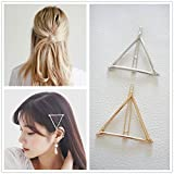triangle DierCosy Minimalist Dainty Gold Silver Hollow Triangle Geometric Metal Hairpin Hair Clip Clamps Accessories Barrettes Bobby Pin Ponytail Holder Statement Women's GIFT (gold and silver)