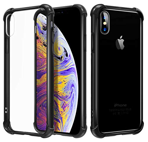 MoKo Compatible with iPhone Xs Case/iPhone X Case, Crystal Clear Reinforced Corners TPU Bumper and Anti-Scratch Hard Cover Fit with Apple iPhone Xs 2018 / iPhone X 2017 5.8 Inch - Black + Clear