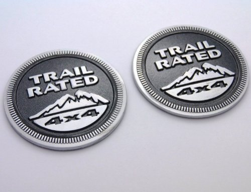 Yoaoo-oem® Auto Tuning 2pcs(1set) Oem for Jeep Trail Rated 4x4 Nameplate Emblem Wrangler Grand Cherokee Liberty Badge Sticky Back Logo Trailhawk 2014 (Jeep Trail)