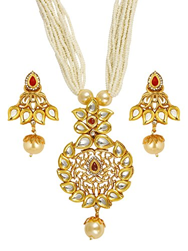 The Jewelbox Traditional Floral Antique Kundan Red Pearl 22K Gold Earring Necklace Set Girls Women ()