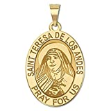 Saint Teresa De Los Andes - Oval Religious Medal 14K Yellow or White Gold, or Sterling Silver