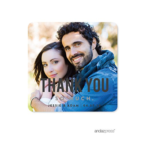 Andaz Press Photo Personalized Modern Wedding Collection, Square Thank You Gift Label Stickers, 40-Pack, Custom Image