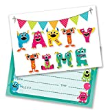 Ruby Ashley Monster Birthday Party Invitations - Includes Envelopes (Pack of 10)