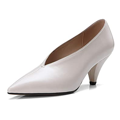 e0992101f45 Nine Seven Women's Clear Pointy Toe Pumps - Cone Heels Handmade Sexy  Comfortable Shoes