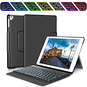 iPad Keyboard Case for New 2018 iPad, 2017 iPad, iPad Pro 9.7, iPad Air 1 and 2 – Bluetooth Backlit Detachable Quiet Keyboard – Synthetic Leather Kickstand Cover – 7 Color Backlight