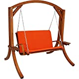 Sunnydaze Deluxe 2 Person Wooden Patio Swing with Burnt Orange Cushions for Patio, Deck or Yard Review