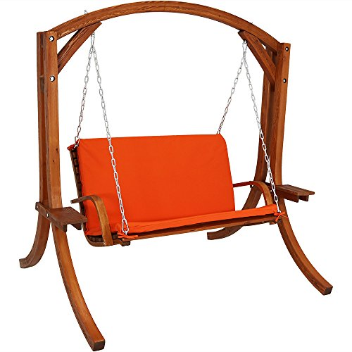 Cheap Sunnydaze Deluxe 2 Person Wooden Patio Swing with Burnt Orange Cushions for Patio, Deck or Yard