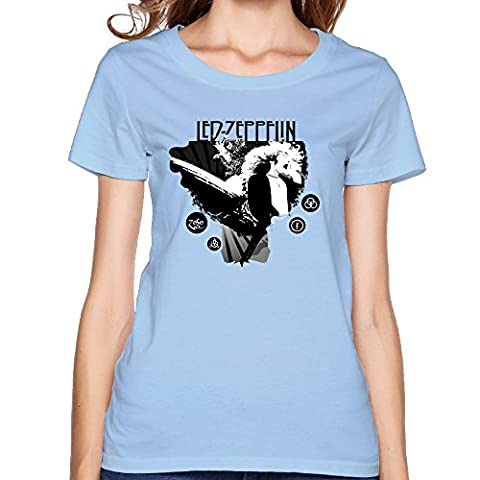 Gameser LedZeppelin Rock Band Music 1977 Women's Fashion Tees XXL SkyBlue (Watch Shameless Season One)