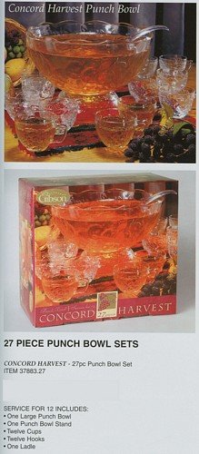 Gibson Concord Harvest Clear Glass Punch Bowl w/ Ladle & Cups (Bowls Glass Concord)