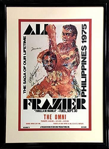 Muhammad Ali Joe Frazier Signed Thrilla in Manila fight poster 2 auto CBM COA