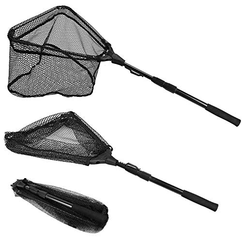 PLUSINNO Fishing Net Fish Landing Net, Foldable Collapsible Telescopic Pole Handle, Durable Nylon Material Mesh, Safe Fish Catching or Releasing (20