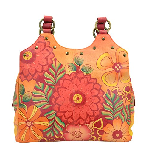 Anuschka Handpainted Leather Triple Compartment Medium Satchel, Summer Bloom by ANUSCHKA