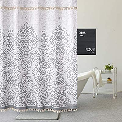 Uphome Tassel Shower Curtain Gray Damask Print Floral Fabric Shower Curtain with Fringe Trims Vintage Boho Chic Bathroom Decor Waterproof and Heavy Duty, 72 x 72 - [Uphome unique designed] 2 rows Tassels ! Its the little details that we loved most. Elegant Damask print bathroom shower curtains made of 100% Polyester fabric adds extra rust-resistant metal grommets and 12 high-quality plastic hooks Without the ROD, can blend with any existing home decor. [Function] Waterproof and heavy-duty,160 GSM,can be used as shower curtain alone, when you take shower the curtain which can prevent it from fluttering, splashing. [Care Instructions] Machine washable in cold water with mild detergent and hang to dry. It could be better cleaned with a quick rinse or wipe after a shower, Low iron; Don't bleach or tumble dry. The Color will stay nice and vibrant for years. - shower-curtains, bathroom-linens, bathroom - 51driQsShoL. SS400  -