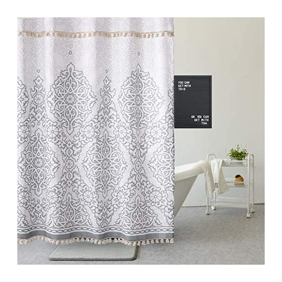 Uphome Tassel Shower Curtain Gray Damask Print Floral Fabric Shower Curtain with Fringe Trims Vintage Boho Chic Bathroom…
