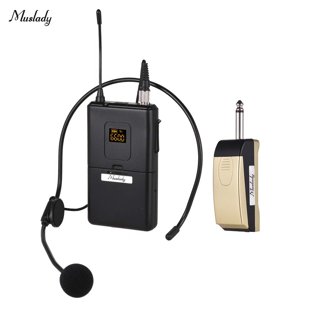 Muslady UHF Wireless Microphone Mic System with Receiver Transmitter Microphone for Business Meeting Public Speech Classroom Teaching