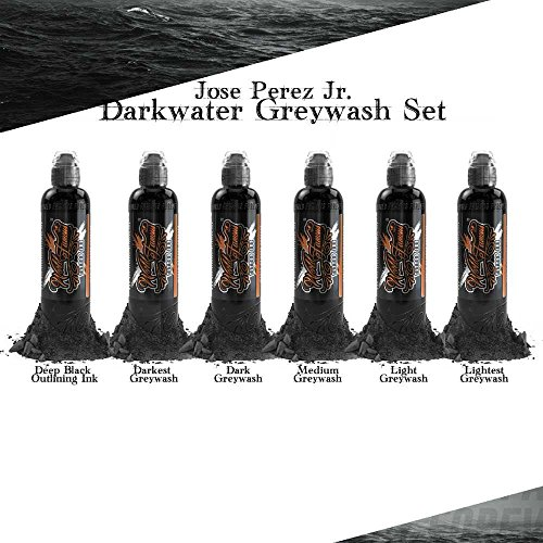 Jose Perez Jr. Dark Water Shading 6 Bottle Set - World Famous Tattoo Ink - 4oz (Ink Tattoo Famous World)