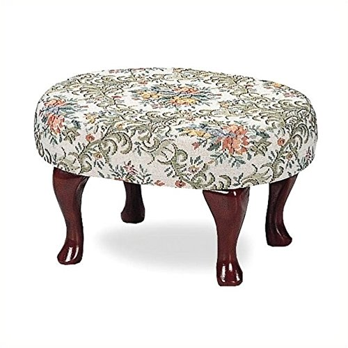 Coaster Queen Anne Style Footstool with Floral Damask Covered, Cherry Finish (Floral Upholstered Ottoman)