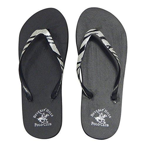 Beverly Hills Polo Club Zebra Glitter Women's Flip Flop Sandal Thong (9 US, Silver)