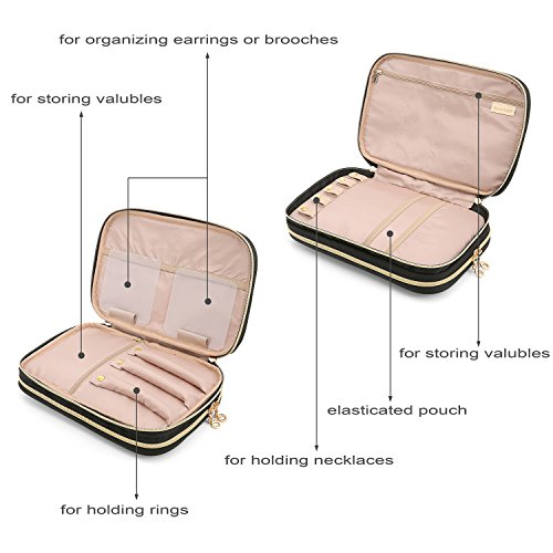 BAGSMART Double Layer Travel Jewelry Organizer Jewelry Storage Carrying Cases for Earrings, Necklaces, Rings, Pink by BAGSMART (Image #5)