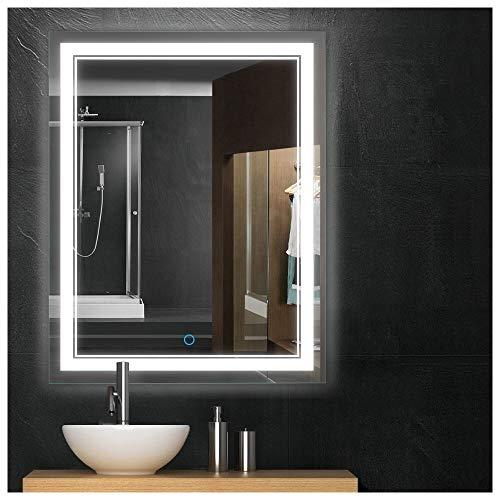 Keonjinn 36x28 Bathroom Mirror Anti-Fog Wall Mounted Makeup Mirror with LED Light Over Vanity (Horizontal/Vertiacl)