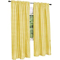 GoodGram Buffalo Check Plaid Gingham Custom Fit Window Curtain Treatments Assorted Colors, Styles & Sizes (Single 84 in. Panel, Yellow)