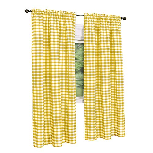 GoodGram Buffalo Check Plaid Gingham Custom Fit Window Curtain Treatments Assorted Colors, Styles & Sizes (Single 84 in. Panel, - Yellow Single