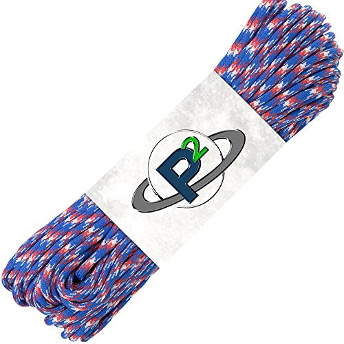 Paracord Planet Mil-Spec Commercial Grade 550lb Type III Nylon Paracord 50 feet Red White Blue Camo