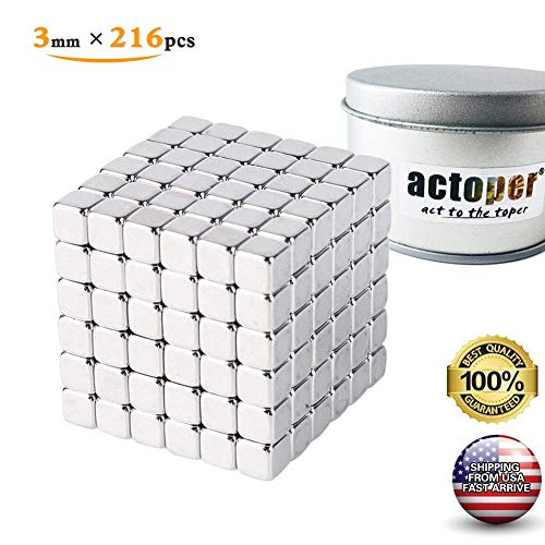 actoper Magnetic Cube 3mm 216pcs Magnets Blocks Multi-Use Square Cube Magnets Toy Stress Relief Toys for Kids (Silver)